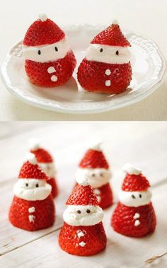 Very creative! I'd love to do this for Christmas parties/potlucks! :D Santas from strawberries cut a little more than halfway towards the tip, then add whip cream or ice cream in between the pieces for face and beard and 2 tiny dots for buttons, then add 2 tiny chocolate dots on the ice cream for eyes