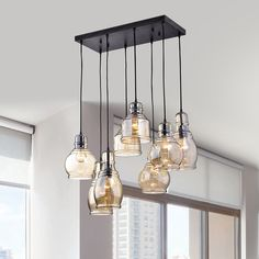 Yaaaaasssss!! Mariana 8-Light Cognac Glass Cluster Pendant in Antique Black Finish (with old fashioned Edison lightbulbs) $232.99
