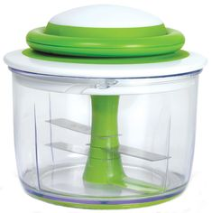 Breeze through food preparation tasks with the beautifully designed Chef'n VeggiChop Hand-Powered Food Chopper (Arugula). Running without electricity, this hand-powered chopper is great for small kitchens, RVs, travel, and camping. Food Processor Reviews, Small Food Processor, Food Chopper, Mini Chopper, Kitchen Tools, Kitchen Gadgets, Kitchen Appliances, Kitchen Dining, Handmade Crafts