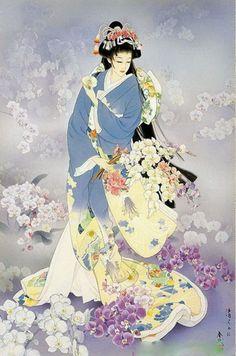 Geisha Painting - Kochouran by Haruyo Morita Art Geisha, Geisha Kunst, Samurai, Asian Artwork, Art Chinois, Art Asiatique, Bild Tattoos, Art Japonais, Japanese Geisha