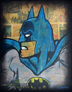 11x14 Batman Vintage, Dark Knight, Superhero Artwork, Signed and Numbered Print by David Lizanetz