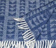Denim blue lambswool throw - 'Ziggurat'  handwoven by Madeleine Jude