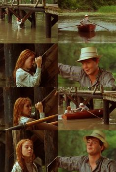 Probably the best scene from Anne of Green Gables, with Anne's recitation of 'The Lady of Shalott' being a close second. I'm also extremely jealous of Gilbert's ability to rock out the hat. :) Gilbert: Anne Shirley. What in heck are you doing here? Anne: Fishing for lake trout.