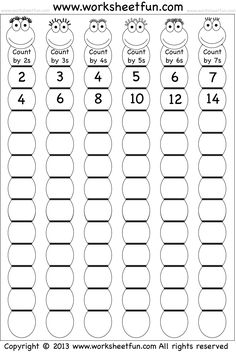 Skip Counting by and 7 – Worksheet / FREE Printable Worksheets – Worksheetfun School Worksheets, Free Printable Worksheets, Letter Worksheets, 2nd Grade Math Worksheets, Printable Multiplication Worksheets, Free Printables, Math School, Third Grade Math, Math Numbers