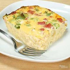 This classic casserole features all the breakfast favorites--hash browns, cheese, ham, and scrambled eggs.