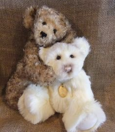 "Hermees and Ragus, two 12"" Dinker bears from Sherford Valley Bears. Hermees is super soft mohair & Ragus is plush. Bears made to order. http://www.sherfordbear.co.uk"