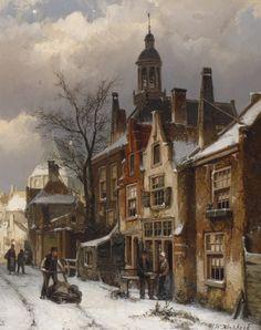 Willem Koekkoek (1839-1895) Een winters straatje. Gesigneerd r.o. Doek 4