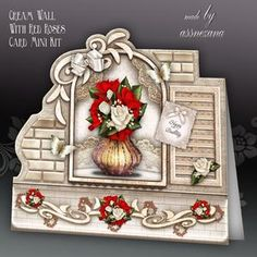 Cream Wall With Red Roses Card Mini Kit