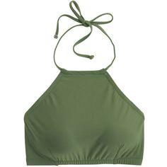 J.Crew Cropped Halter Bikini Top (82 AUD) ❤ liked on Polyvore featuring swimwear, bikinis, bikini tops, halter bikini top, halter bikini, halter crop top, swim tops y neck-tie