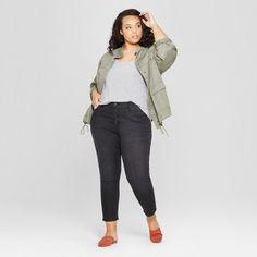 0db743d936f Women s Plus Size Button Fly Skinny Crop Jeans - Universal Thread Black  Wash 14W