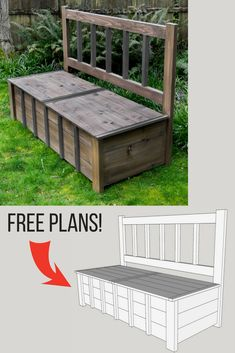 Keep kids toys hidden away in plain sight with this outdoor storage bench! Get the free woodworking plans and start building today! #woodworkingplans #woodworkingproject #storage #bench #outdoorfurniture