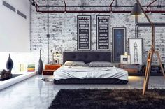 Stylish Masculine Bedroom Design White Brick Wall Combined Glass Wall Dark Brown Bed Using White Sheet Arch Llamp On Dark Brown Rug White Floor Tile Real House Design Mens Bedroom Decor Bedroom Mod Interior Design Manly Room Décor Ideas Industrial Bedroom Design, Industrial Interiors, Industrial House, Industrial Apartment, Modern Industrial, Vintage Industrial, Vintage Modern, Industrial Furniture, Industrial Stairs
