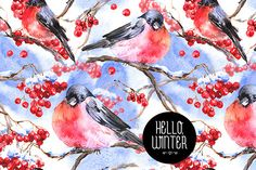 Check out Bullfinches and Rowan Branch by Depiano on Creative Market