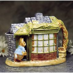 Peter Rabbit in Front of the Store Handpainted Teapot