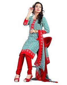 #Bedazzling #Sea #Green & #Red #Colored #Printed #Dress #Material
