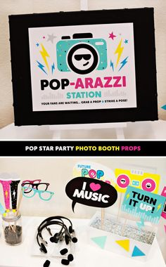 Printable Pop Star Party Photo Booth Props