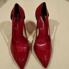 """NWOT! Brand new  Michael Shannon shoes. Beautiful red Patent Leather/Leather shoes. Open sides. 4"""" heel. Includes shoe bag. Never been worn. Michael Shannon Shoes Heels"""