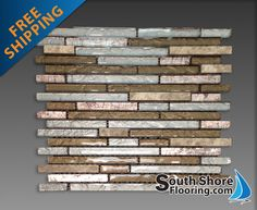 copper glass backsplash | Glass Tile and Stone, Inc Random Strip Mosaic Backsplash Stainless ...
