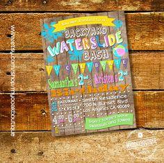 Waterslide backyad birthday bash splish splash party girl invitation combined joint siblings wood digital printable invitation 13607 by myooakboutique on Etsy