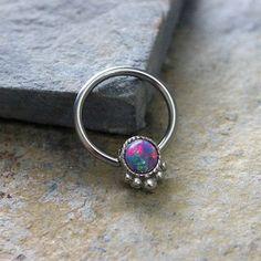 Purple Opal Fire Conch Hoop Earring, Septum Cartilage Helix Nipple Daith, Captive Bead Earring, 14G 16G 316L Surgical Steel