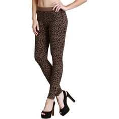 Nikibiki Women's Seamless Vivid Leopard Print Ankle Length Leggings ($23) ❤ liked on Polyvore featuring pants, leggings, brown, white leopard leggings, ankle length pants, slim fit pants, patterned pants and brown leggings