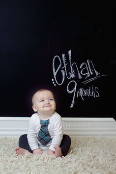 our new chalkboard backdrop i made! what do you think? Toddler Photography, Photography Props, Creative Photography, Chalkboard Photography, Kid Poses, Children Poses, Baby Boy Rooms, Baby Room, 9 Month Olds
