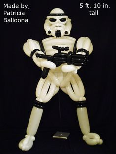 Balloon Stormtrooper designed and made by Patricia Balloona. http://patriciaballoona.wordpress.com/2014/07/24/381st-balloon-sculpture-star-wars-stormtrooper/
