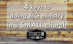 Youth ministry in a small church can sometimes feel like an uphill battle. You want to build something awesome, and grow the ministry but the environment isn't always the best to make that ha…