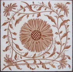 Super, symmetrical, light and scrolling aesthetic floral design from Mintons China Works printed in a pale brown on a white clay body with fine, glossy glaze. Excellent condition; please write with any...