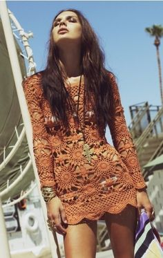 Crochet boho chic dress, modern hippie fashion, Bohemian trends. For MORE of that gypsy look FOLLOW http://www.pinterest.com/happygolicky/the-best-boho-chic-fashion-bohemian-jewelry-gypsy-/