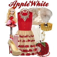Ever After High: Apple White by lauren-renee-taylor on Polyvore featuring Alice + Olivia, LISKA, Topshop, Christian Louboutin, Mary Frances Accessories, Erickson Beamon, Boodles, Rock 'N Rose and Mattel