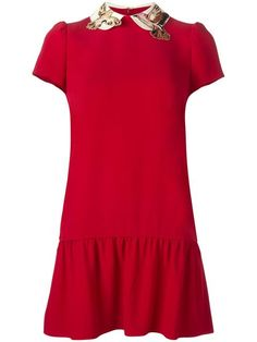 RED VALENTINO birds collar dress. #redvalentino #cloth #dress