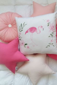 Flamingo pillow to buy on Etsy - HappySpacesWorkshop - Flamingo decor ideas, Flamingo decoration for the home, Pink kids room decor, Girls pillows, Nursery pillow, gift for kids
