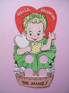 Image result for FINGER CARDS + VINTAGE VALENTINE CARD