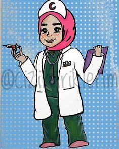 nurse doctor hijab drawing cartoon