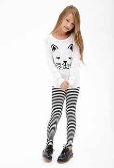 Girls fashion clothes, kid clothing, girls in leggings, cat leggings, strip Preteen Girls Fashion, Girls Fashion Clothes, Teenage Girl Outfits, Cute Girl Outfits, Outfits For Teens, Kids Fashion, Teenage Clothing, Clothing Ideas, Kid Clothing