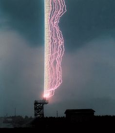 University of Florida: Lightning Research Laboratory - a thin wire attached to a rocket acts as a kind of fuse, coaxing a bolt of lightning down the so-called plasma channel to the grounded metal launcher.