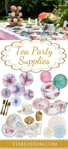 If you are planning a Tea Party, we've got you covered with the widest selection of gorgeous Tea Party Decorations and supplies! Perfect for a Bridal Shower, a Baby Shower or a Girl Birthday Party! Tea party for little girls, so much fun Girls Tea Party, Princess Tea Party, Tea Party Theme, Tea Party Birthday, Girl Birthday, Party Themes, Ideas Party, Party Fun, Diy Party