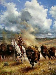 A Native American ~ Hunting Buffalo. (By: Don Oelze.) A Native American ~ Hunting Buffalo. (By: Don Oelze. Native American Paintings, Native American Pictures, Native American Artists, Native American History, Indian Paintings, Native American Hunting, Native American Warrior, Navajo, Cherokees