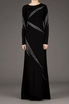 For Sale on - Emilio Pucci Runway Black Embellished Gown. Sexy Slashed Details Accent with Silver / Black Crystals Embellishments. This Sleek Dress Featured Gorgeous Abaya Fashion, Modest Fashion, Embellished Gown, Organza Dress, Formal Dresses For Weddings, African Fashion Dresses, Emilio Pucci, Evening Dresses, Gowns