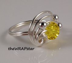 Yellow Ring Wire Wrapped Jewelry Handmade Birthstone Ring Crystal Ring Wire Wrapped Artisan Handcrafted Personalized Gift ITEM0305. $14.95, via Etsy.