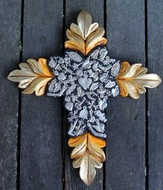 Carved Wooden Cross Shades of Gold Milagros Mexican Folk Art Michoacán Hand Made