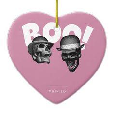 Two Skulls Boo! Ceramic Ornament - kids kid child gift idea diy personalize design