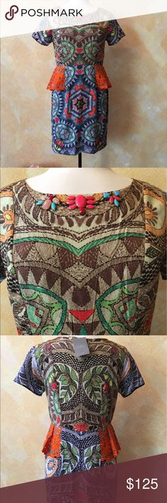 New Anthropologie peplum dress Beautiful, colorful, with orange lace peplum accent. Anthropologie Dresses