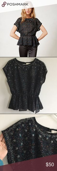 NWT Saturnalia beaded peplum Anthropologie Top Adorable NWT top from Anthropologie. I bought this from the retail store and then never wore it! Such a cute top, lots of detail. Dress up or down. Super flattering on! Anthropologie Tops Blouses