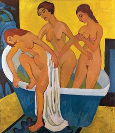 Ernst Ludwig Kirchner | 1880-1938, Germany | Women Bathing by a triptych, central panel