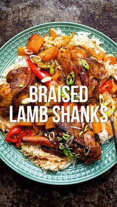 Braised Lamb Shanks This vibrant Lamb Shank Recipe is inspired by the flavours of the Caribbean. Slow cooked lamb shanks braised with peppers and squash in a spicy gravy. Serve over coconut rice or mashed potatoes Pork Shanks Recipe, Lamb Roast Recipe, Lamb Chop Recipes, Meat Recipes, Indian Food Recipes, Cooking Recipes, Slow Cooking, Recipes With Lamb, Best Lamb Shank Recipe