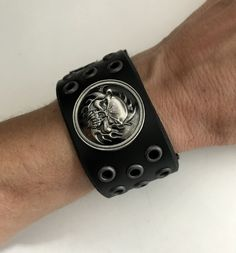 Your place to buy and sell all things handmade Bracelets For Men, Cuff Bracelets, Leather Wristbands, Skull Bracelet, Men's Leather, Skulls, Rings For Men, Handmade, Etsy
