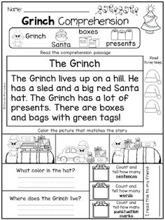 This comprehension passage is part of a Grinch… Grinch Day Reading Comprehension. This comprehension passage is part of a Grinch Day FREEBIE! School Holidays, School Fun, School Stuff, Christmas Worksheets, Teaching Reading, Kindergarten Reading Comprehension, Comprehension Worksheets, Guided Reading, Teaching Ideas