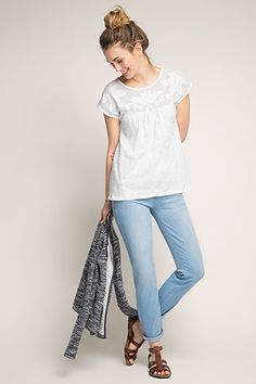 Esprit / Shirt met pas van netstof, 100% katoen